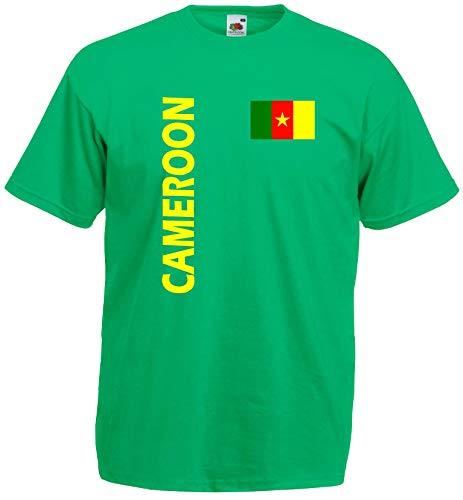 Kamerun Herren T-Shirt Cameroon Trikot Fan Shirt quer grün S