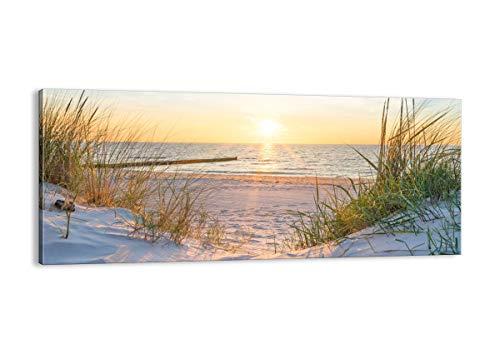Quadro su tela - Elemento unico - duna spiaggia mare - 120x50cm - Pronto da appendere - Home Decor - Stampe su Tela - Quadri Moderni - completamente incorniciato - AB120x50-3989