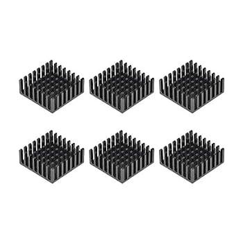 uxcell 10x25x25mm Black Aluminum Heatsink Thermal Adhesive Pad Cooler for Cooling 3D Printers 6Pcs