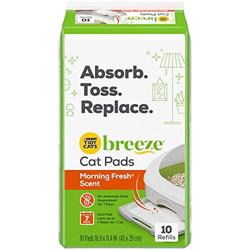 pellet cat litter boxes Purina Tidy Cats Litter System, Breeze Morning Fresh Fragrance Multi Cat Pad Refills - 10 ct. Box