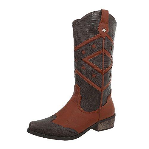 Ital-Design Western- & Bikerstiefel Damen-Schuhe Blockabsatz Western Style Stiefel Camel Multi, Gr 37, Ju1162-