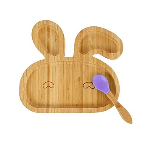 unknows Plato de Cena, Baby Natural Bamboo Bowl Juego de cucharas Animal de Dibujos Animados Plato de Cena Dividido Niños Aprendizaje Plato de alimentación Niños recién Nacidos Vajilla