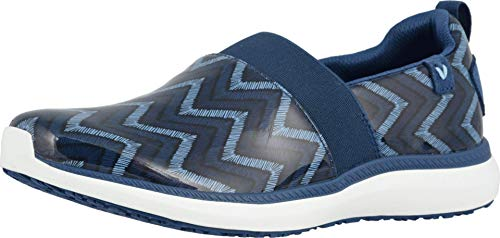 Vionic Women's Fiona Service Shoes- Ladies Slip Resistant Shoe with Concealed Orthotic Arch Support Navy Chevron 8.5 Medium US