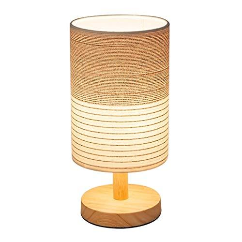 Lampe de Table de Chevet Ronde en Bois Massif, Abat-Jour en Tissu Chevet Lampe de Bureau LED Chambre Salon dimmable E27 Beige (Taille : Push Button)