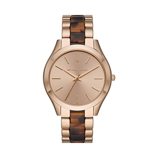 Michael Kors Women's Slim Runway Quartz Watch with Acetate, Stainless Steel Strap, Two-Tone, 20 (Model: MK4543)