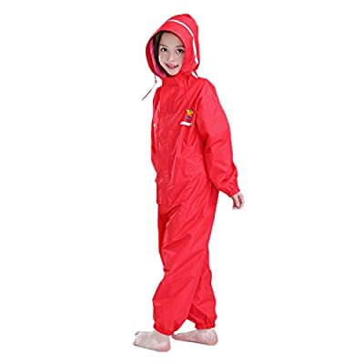 JiAmy Kids Baby One Piece Rain Suit Waterproof Coverall with Hood Jumpsuit 6-7 Years Red