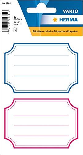 HERMA 5781 Buchetiketten, blauer & roter Rand, selbstklebende neutrale Heftetiketten aus Papier für die Schule für Kinder, Mädchen und Jungen, 12 Schuletiketten