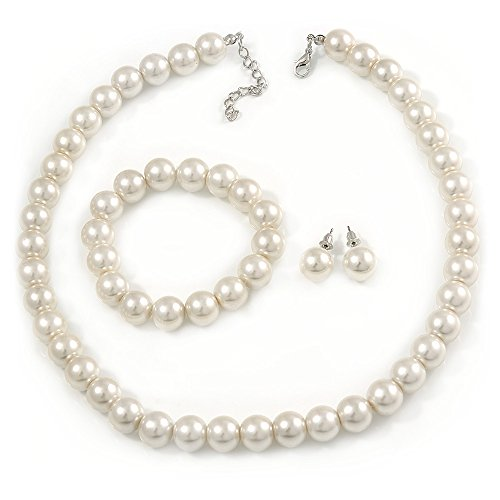 Avalaya 12mm Cream Faux Glass Pearl Bead Necklace, Flex Bracelet & Stud Earrings Set in Silver Plating - 46cm L/ 5cm Ext