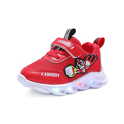 NAIKLY Toddler Girls Boys Transpirable LED Zapatillas Zapatillas de Zapatillas de Zapatillas Ultraman Impresión Suave Malla Suave Light Shoes Shoes Primeros Caminatas (Color : Red, Size : EUR 24)