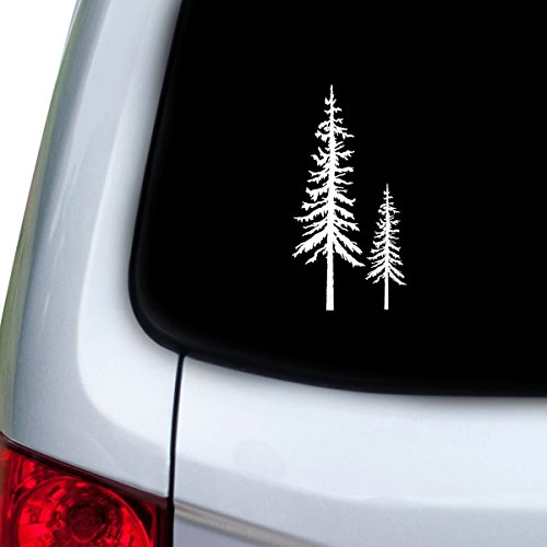 StickAny Car and Auto Decal Series Redwood Trees Sticker for Windows, Doors, Hoods (White)