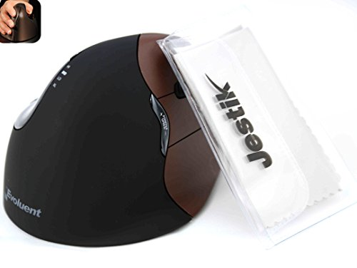 Evoluent - Ergonomical Wireless VerticalMouse & Jestik Microfiber Cloth - Right Handed - Small Size - Brown & Black