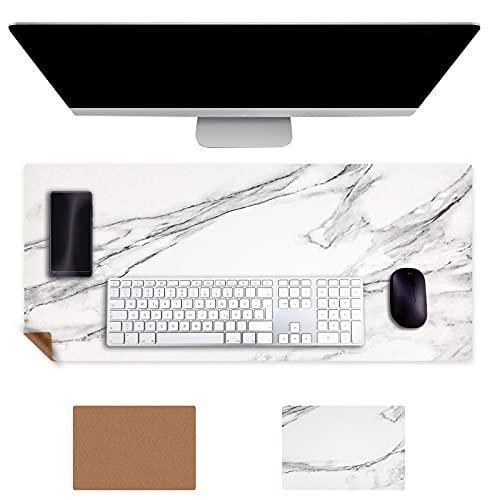 Almohadilla de Escritorio 900X400mm Multifuncional para Oficina Doble Cara Corcho para Escritorio Hecho de Cuero PU Almohadilla de Escritura para Oficina Hogar(Mármol Blanco)