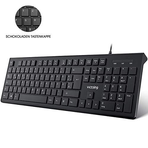 VicTsing Tastatur USB, 105 Tasten Chiclet PC Tastatur, QWERTZ, Wired USB Tastatur kabelgebund 2.0/Ergonomische Tastatur, 1,5m Kabel Office Keyboard für Windows 98/ XP/ 7/8/10/ Vista, Mac, Schwarz
