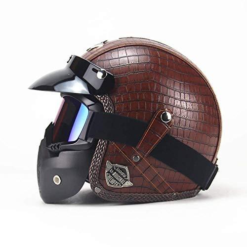 Knoijijuo Leder Motorradhelm Jethelm,ECE Zertifiziert,Retro Harley Halbhelme mit Abnehmbare Maske für Damen Herren,3/4 Motorradhelm für Street Bike,Braun,XL