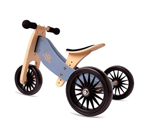 New Kinderfeets, Kids Tiny Tot Plus Balance Bike, Adjustable Seat, Puncture Proof Tires, Pedal-Free Training Bicycle for Children and Toddlers Ages 18 Months and up (Slate Blue)