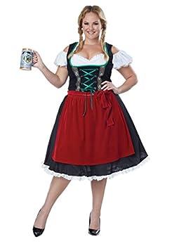 Women s Plus Size Oktoberfest Fraulein Costume 3X Red