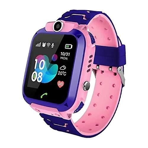 CRFYJ Inteligente Reloj niños niños 4G WiFi GPS del perseguidor del niño del teléfono del Reloj Digital de la cámara SOS Alarm Clock Reloj teléfono for Niños Q12 (Color : Pink)