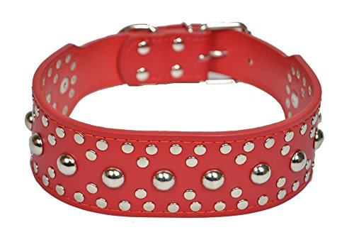 "Downtown Pet Supply 2"" Wide Premium Leather Studded Dog Collar, X-Large Red"