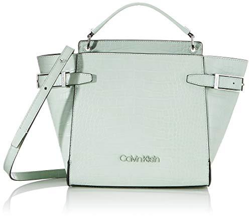 Calvin Klein Winged Top Handle Tote Sm Croc, Cabas femme, Vert (Petal Green), 1x1x1 cm (W x H L)