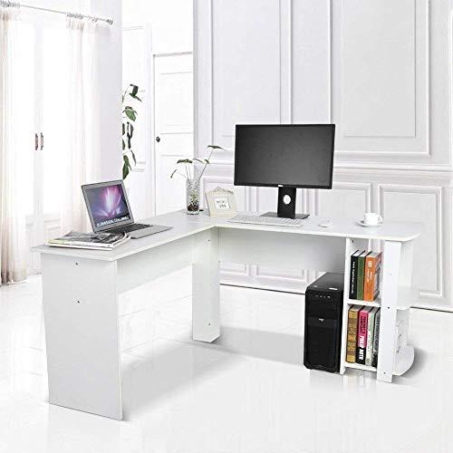 GOTOTOP - Escritorio de madera para ordenador, con estantería, porta PC y espacio para el teclado, en forma de L. Para estudio u oficina. Medidas: 136x 130x 72cm.