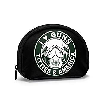 I Love Guns Titties and America Women Portable Coin Purse Zippered Change Pouch Wallet Shell Storage Bags