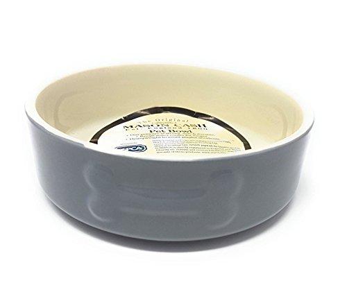 2 X de Luxe Porcelaine Poids Lourd OS Chien Animal de Compagnie Gris Crème Nourriture Eau Gamelle 15cm X 5cm