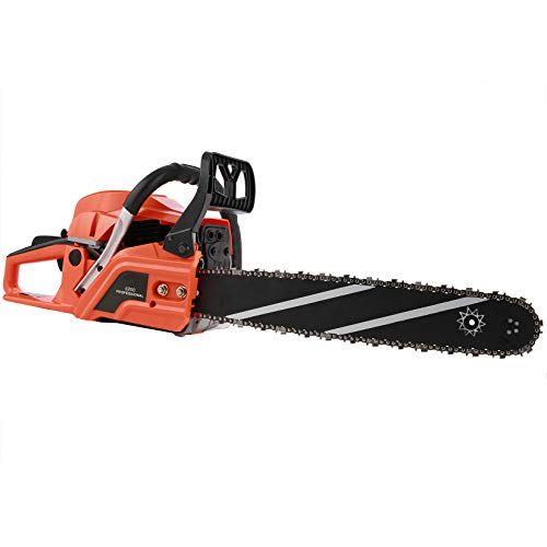 Homdox Gas Chainsaw 62CC Power Chain Saw,20-Inch Gasoline Chain Saw with 2 Chains,Tool Set and Carry Bag for Trees Wood Farm Garden Ranch Forest Cutting(Orange)