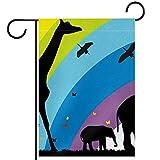 Bandera de jardín de casa de doble caraDecoración exterior de patio de primavera verano 12x18inch,Jirafas y elefantes en África