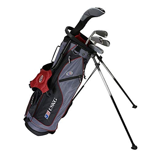 """U.S. Kids 2017 Golf Ultra Light, 5 Club Carry Golf Set with Bag, Grey/Maroon, Right Hand (60"""" Height)"""