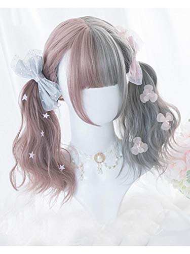Perruque Femmes Lolita 50CM longs bouclés Gris Mixte Rose Ombre Bangs Parti mignon synthétique Halloween cosplay perruque Postiches