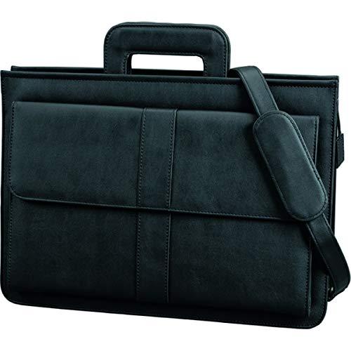 Alassio Réf 41024 Sacoche porte-documents zippée Plusieurs compartiments Bandoulière Imitation cuir Noir (Import Royaume Uni)