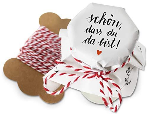 25 Mini Marmeladendeckchen - schön, DASS du da bist - Blumen Gläserdeckchen Weiß für Marmelade, kleine Marmeladengläser & Einmachgläser, Recyclingpapier Abreißblock + 10 m Garn + Justiergummi