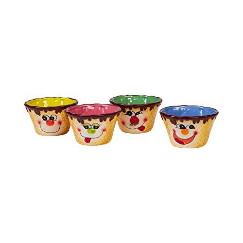 Eisschälchen, Eisbecher, Dessertschale, Eisschale, Eisschüssel, mit Eiswaffelmotiv & Gesicht, Schüssel bunt, lustige Schüssel, 4 Stück, Steingut