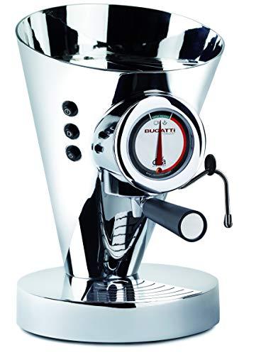 BUGATTI, Diva Evolution , Macchina da Caffè Espresso e Cappuccino, per Caffè macinato in polvere e Cialde, Funzione Vapore Non-Stop, 15 bar, 950 W, Capacità 0.8 Litri, Design Elegante (Cromo)