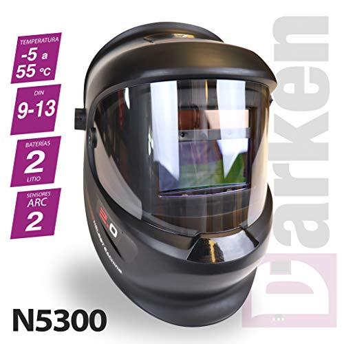 Careta para soldar, oscurecimiento automático, DIN 9-13. Casco de soldadura MMA, MIG-MAG y TIG. Mascara de soldadres DARKEN + 5 Filtros exteriores de REGALO. Ref. N5300