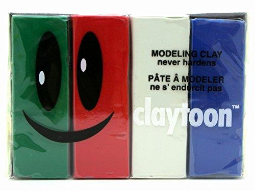 Van Aken International – Claytoon – Non-Hardening Modeling Clay – VA18162 – Holiday – Blue, White, red, Green – 1 Pound Set (4-1/4 Pound Bars) – claymation, Gluten-Free, Non-Toxic