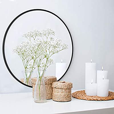 "Barnyard Designs Large Round Circle Wall Mirror with Black Metal Frame, Decorative Mirror for Bathroom, Vanity, Home Decor, 30"" x 0.5"""