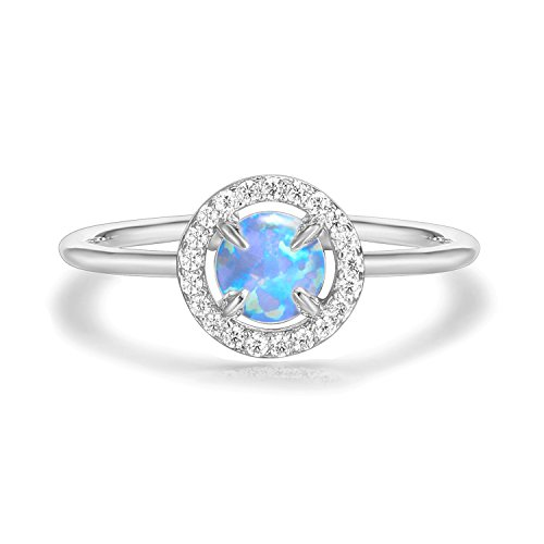 PAVOI 14K White Gold Plated Blue Opal Ring, Adjustable | Gold Rings for Women 14k Love Toe Ring