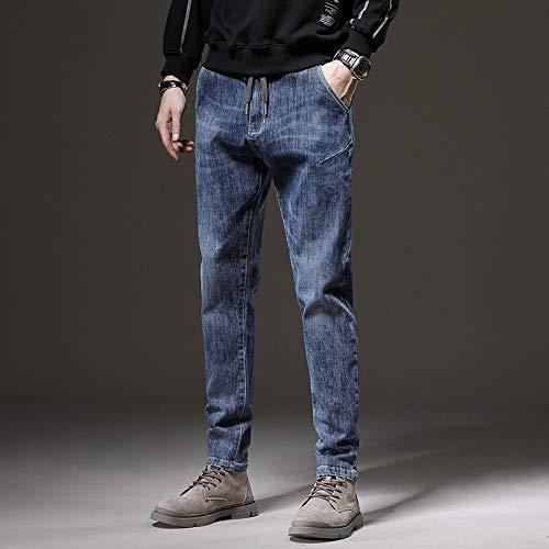 Vaqueros para Jeans Pantalones Moda Hombre Jeans Invierno Pantalones Casuales Bordado De Letras Pantalones Largos Rectos Pantalones De Hombre 30 Azul