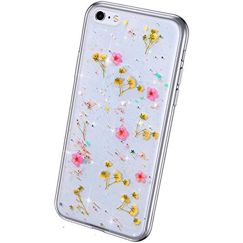 QPOLLY Compatible avec iPhone 6/6S Transparent Coque, Brillante Séchées Vraies Fleurs Paillettes Coque Ultra Mince Silicone TPU Souple Gel Bumper Clea