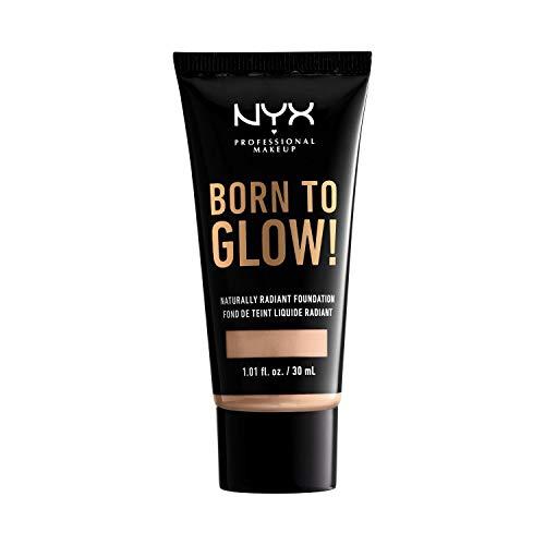 NYX Professional Makeup Born to Glow Radiant Foundation, Schimmerndes Finish, Aufbaufähige mittlere Deckkraft, Vegane Formel, Farbton: Vanilla