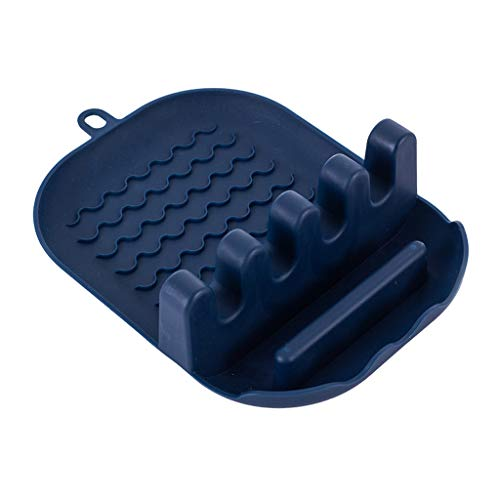 Xuebai Kitchen Spoon Rest Rack Utensil Spatula Holder Heat Resistant Storage Shelves Storage Shelf Navy Blue