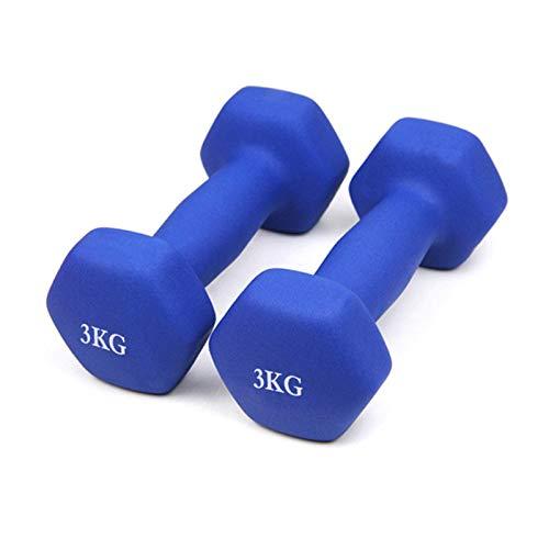 XIJING Gewicht Hantel Neoprenbeschichtetes Langhantelgewicht 0,5/1 / 1,5/2/3 kg, EIN Paar,3kg