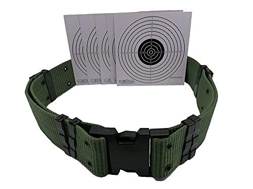 Glac Store® Cintura Cinturone in Cordura Tattico Verde Militare con Sgancio Rapido Regolabile Softair Esercito Caccia Trekking e Bersagli in Cartoncino