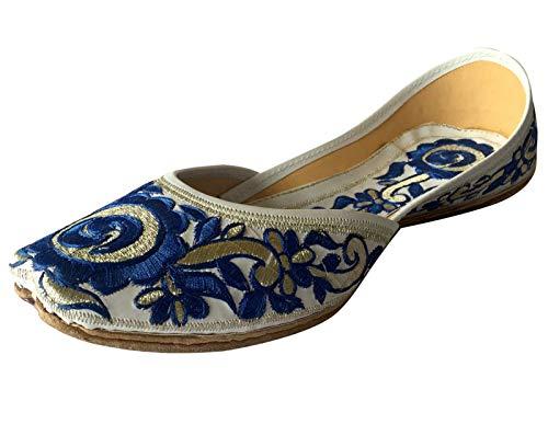 Step n Style Women Flat Ballerina Punjabi Jutti Khussa Shoes Ethnic Phulkari Shoes (9) Blue White