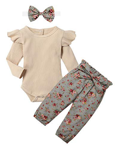 KANGKANG Newborn Baby Girls Clothes Cute Baby Clothes Girls Romper + Pant 3pcs Winter Outfit 0-3 Months Light Brown