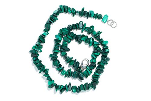 Taddart Minerals – Sdoppiatore verde collana in pietra malachite naturale con 45 cm di lunghezza – fatto a mano