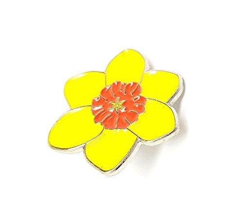 Broche de metal esmaltado de metal esmaltado con emblema de Gales de Narciso amarillo de Marie Curie