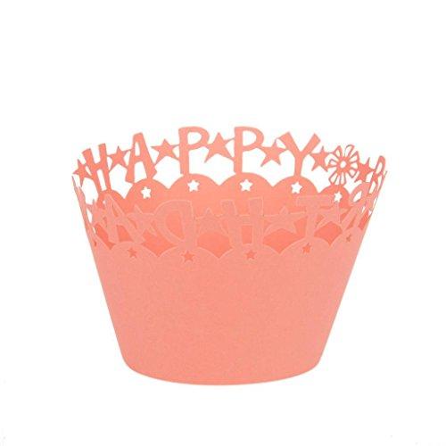 50 X ''Alles Gute Zum Geburtstag'' Cupcake Wrapper Fall Baby Dusche Liner Dekor Rosa - Rosa