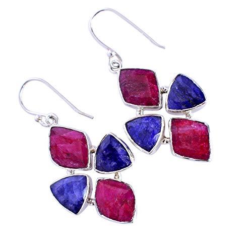 Corundum Ruby & sapphire Gemstone 925 Solid Sterling Silver Dangle Earrings Beautiful Handmade Jewelry,For Girls FSJ-5286